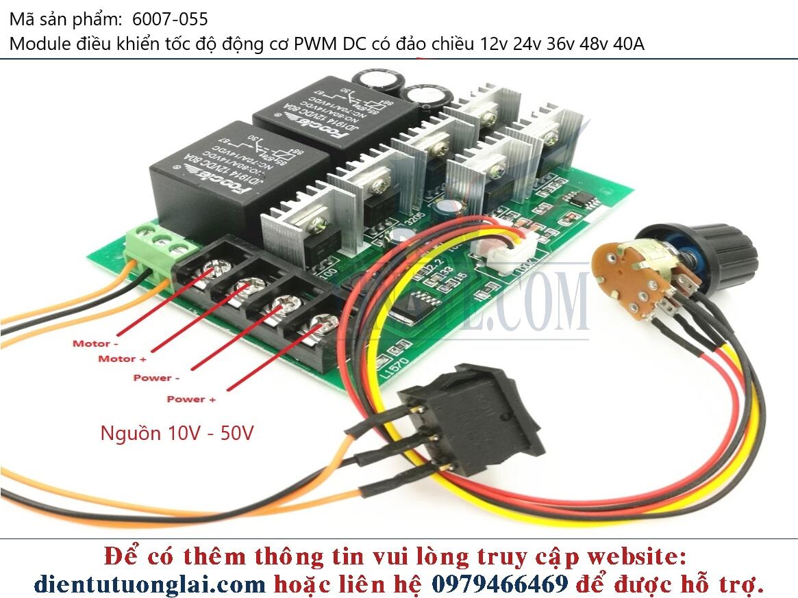 Module điều khiển tốc độ động cơ PWM DC có đảo chiều 12v 24v 36v 48v 40A